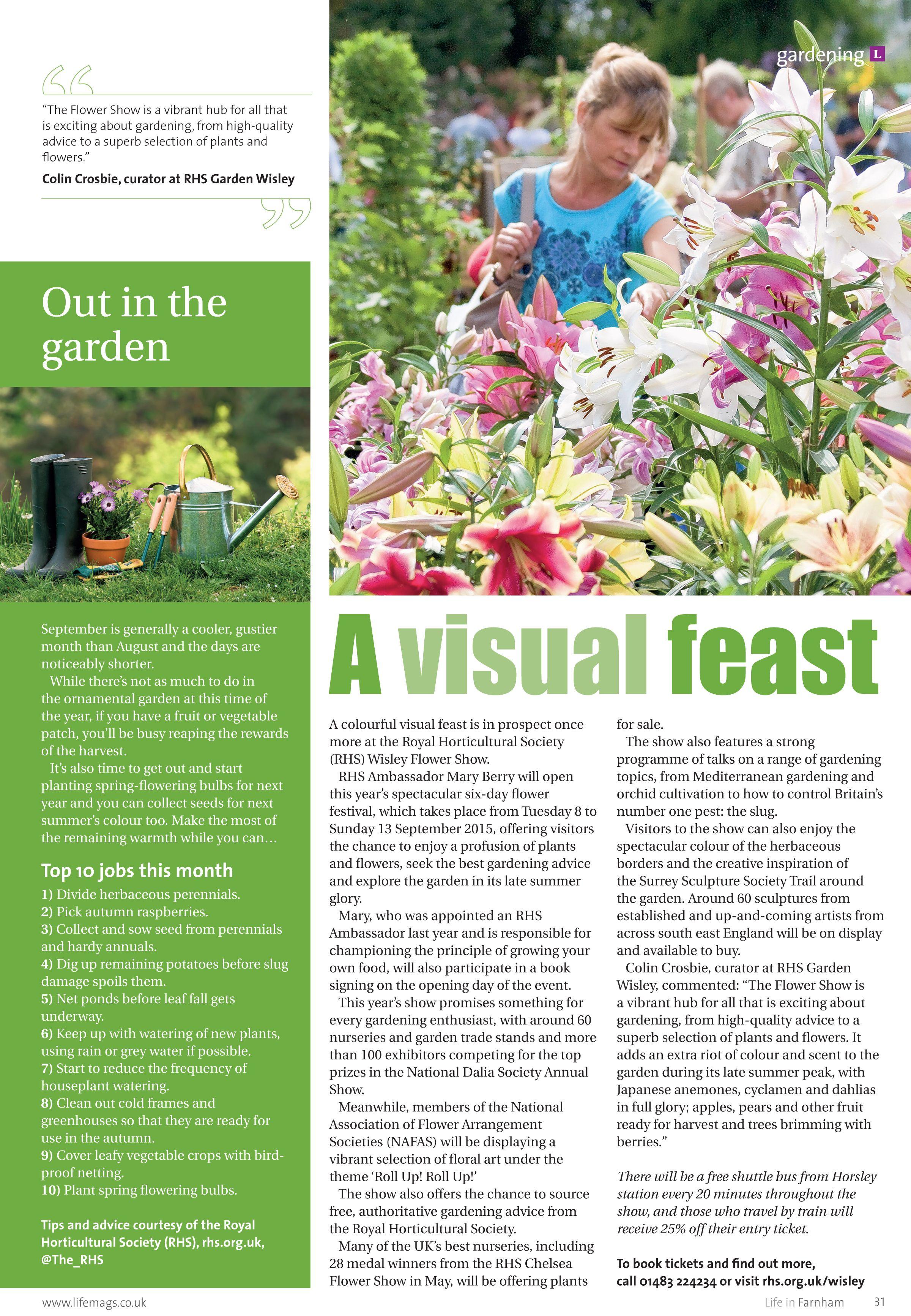 A visual feast ~ RHS Wisley Flower Show in the spotlight. #locallife #gardening #flowershow #Farnham #Surrey