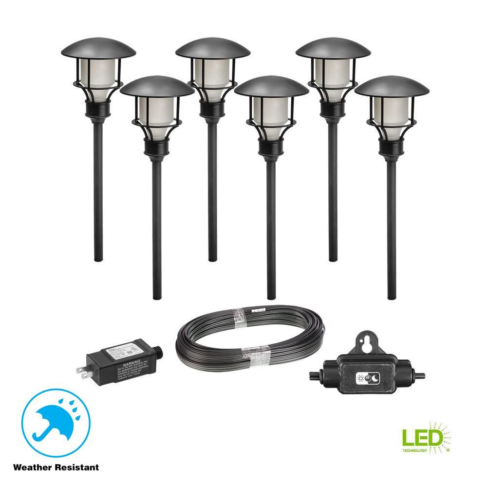 Hampton Bay Low Voltage Black Outdoor Integrated Led Landscape Path Light 6 Pack Kit Landscape Lighting Kits Outdoor Lighting Landscape Lighting