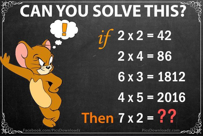 If 2×2=42, Then 7×2=? – Genius Math Puzzles with Answer