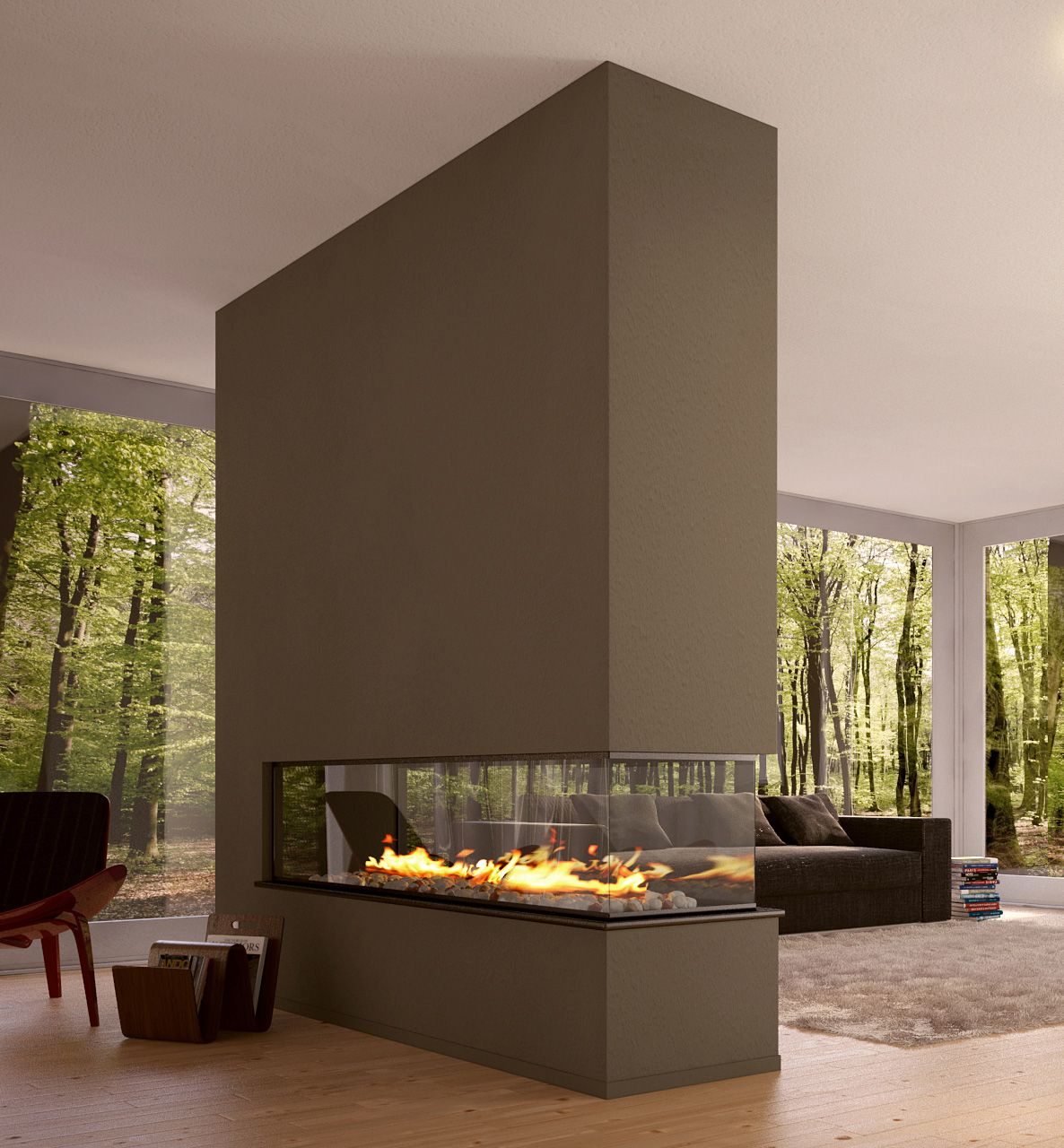 Fascinating Fireplaces Modern Design Room Divider Eco House Interior Love This One The Right Place For Fire And Best View Ever