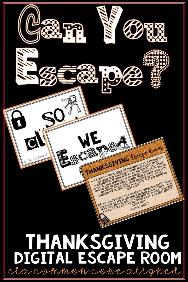 Thanksgiving ELA Digital Escape Room - Common Core Aligned ...