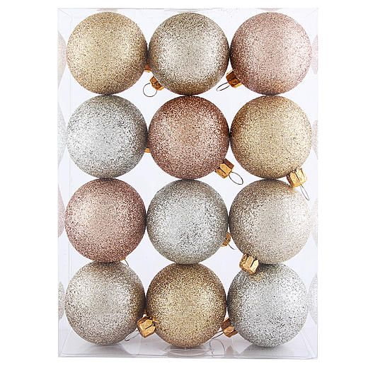 Jaclyn Smith 12Ct 48MM Ball Shatterproof Christmas Ornaments With Glitter  Finish alternate image - Jaclyn Smith 12Ct 48MM Ball Shatterproof Christmas Ornaments With