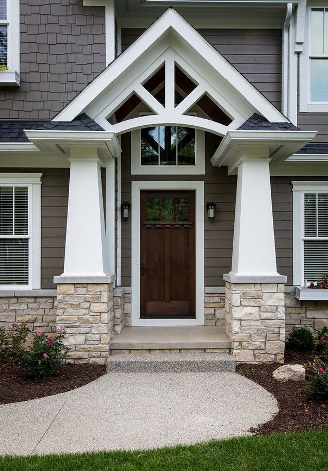 Portico features tapered craftsman columns stone is fond for Craftsman columns