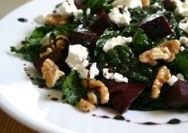 salad with beets, walnuts, goat cheese and balsamic. (I skipped the reduction and just made the dressing)