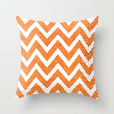 orange chevron Throw Pillow by Her Art - $20.00