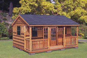 Garden Sheds With Porch 16' x 20' cottage shed with porch project plans, design #61620