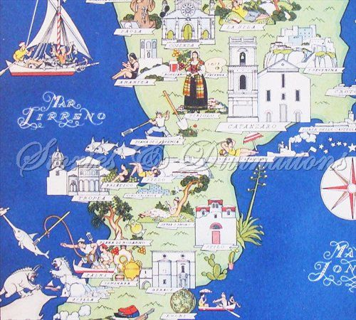 Italy  Vintage Map  1938 Calabria  Original by StoriesDivinations, $75.00