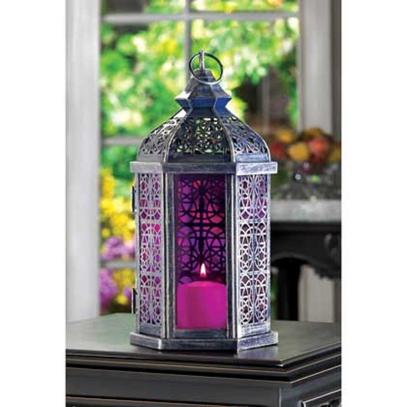 Purple Amethyst Silver Punched Morrocan Garden Outdoor Candle Holder Lantern 11 Tealightholdervotivecandl Purple Candles Glass Candle Lantern Amethyst Candle
