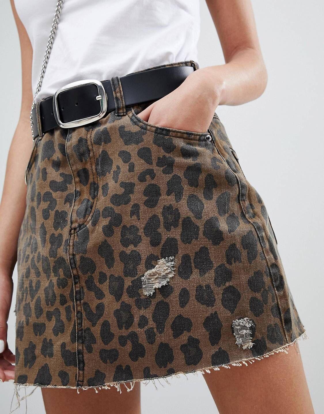 3cd51aff07f8 Bershka leopard print denim skirt in 2019 | SKIRT | Denim skirt ...