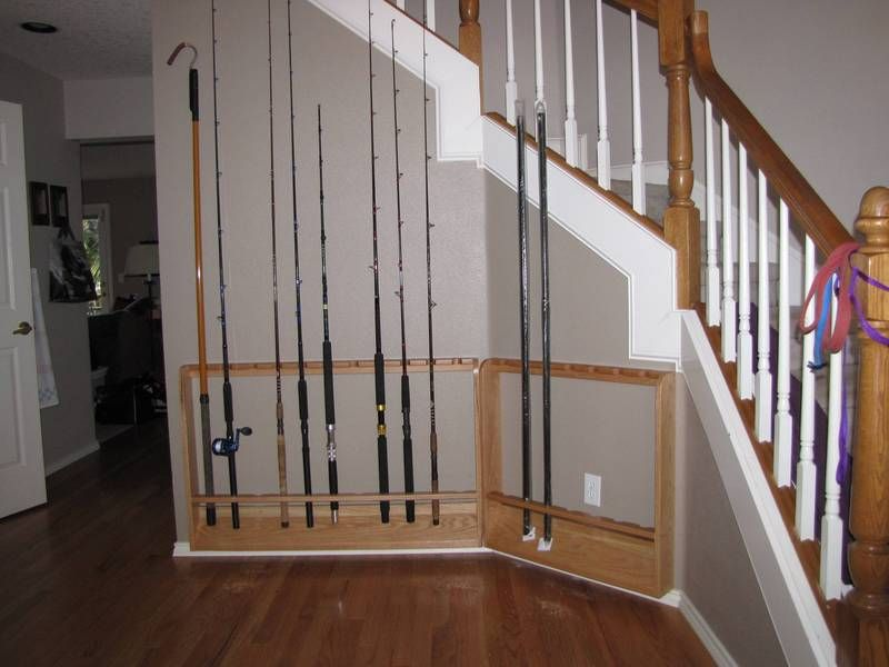 Fishing rod rack diy includes pictures and steps for Homemade fishing rod storage ideas