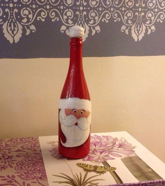 Christmas hand painted santa 39 s wine bottle by for Christmas craft ideas with wine bottles