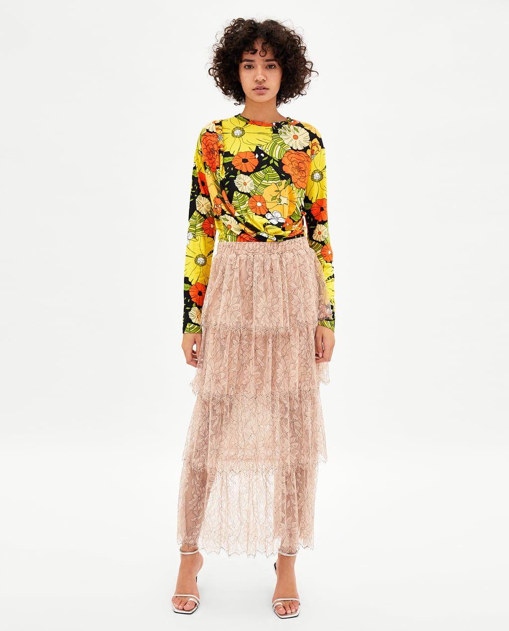 70bfae5da FALDA LARGA ENCAJE VOLANTES | Fashion | Faldas largas, Volantes y Faldas