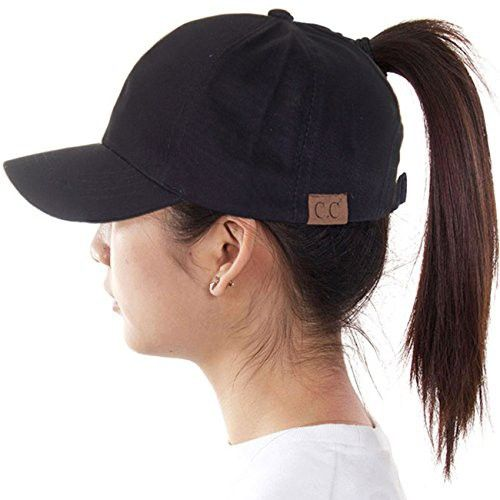 b7ced9dcfdc ScarvesMe C.C 100% Cotton Solid Ponytail Cap Messy Buns Trucker Plain  Baseball Ponycap Hat (Black)