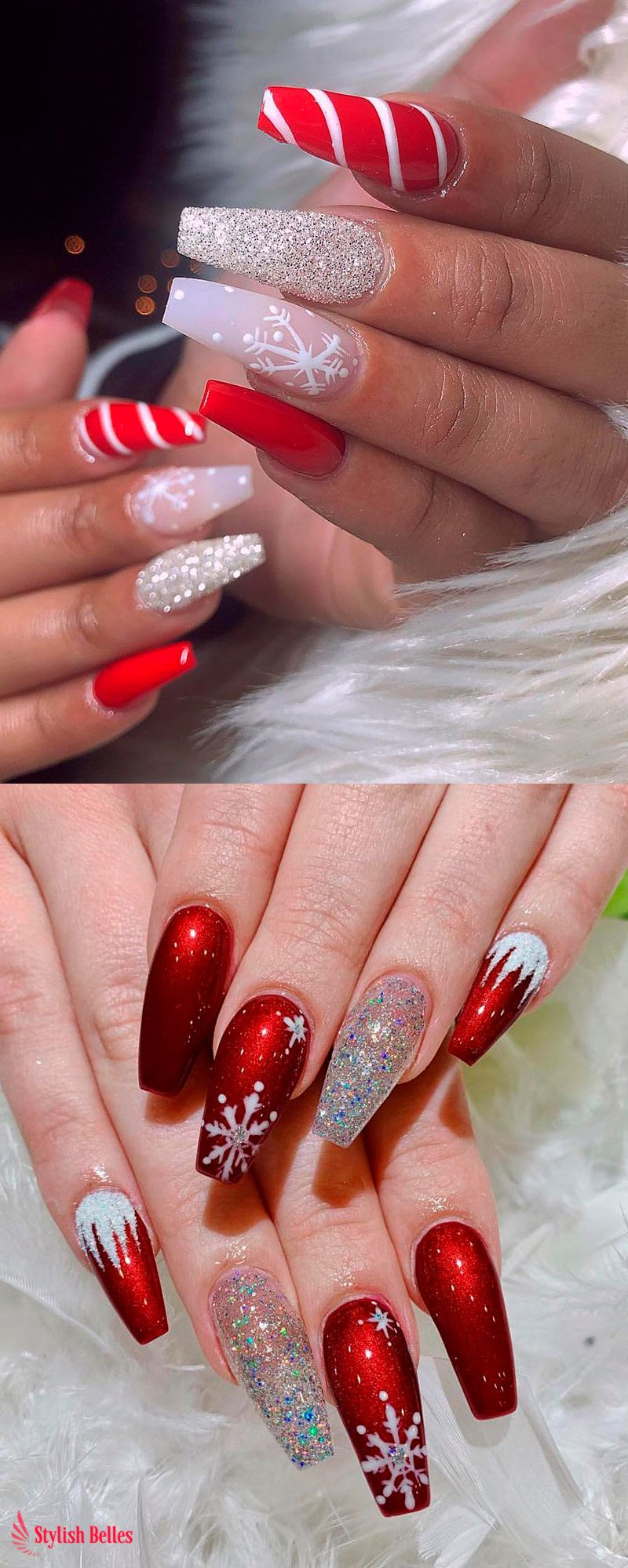 Amazing Snowflake Glitter And Red Christmas Nails Ideas