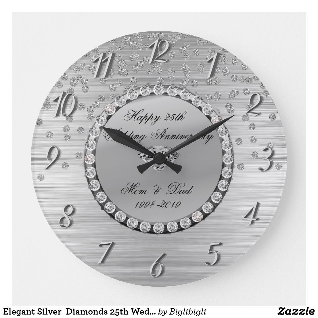 Elegant Silver Diamonds 25th Wedding Anniversary Large Clock Zazzle Com In 2020 25th Wedding Anniversary Clock Large Clock