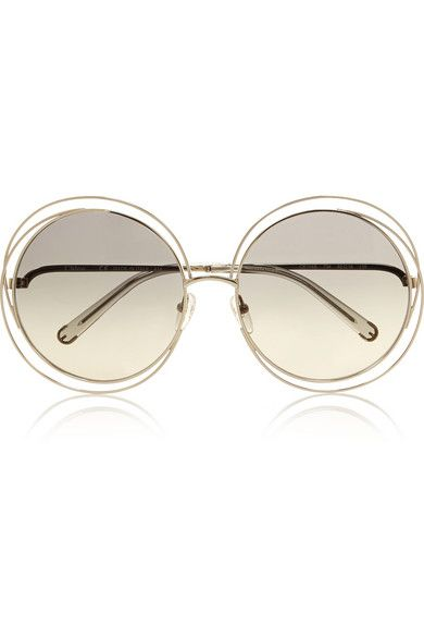 1719a3d0da2 Chloé Carlina oversized round-frame stainless steel sunglasses ...
