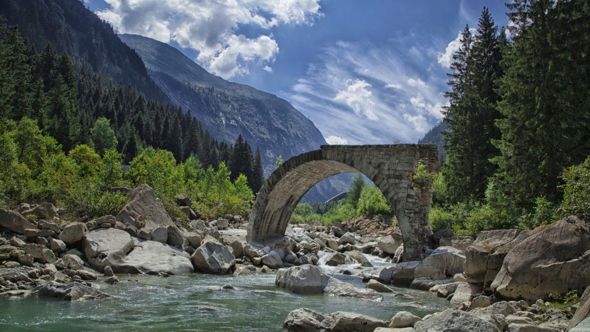 Hd wallpaper river - Bridge Ruins In A Rocky Valley River Hd