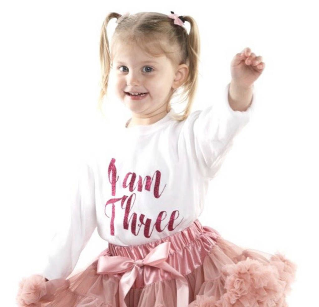 Photo of 'I Am Three' Script Birthday T Shirt