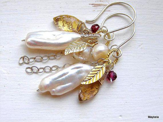 Biwa Pearl Earrings , Kunzite Quartz Gold Leaf Flakes , Leaf Charms , Rhodolite Garnet , Mixed Metal Jewelry , Cluster Earrings