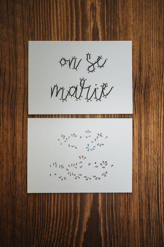 Carte points à relier – On se marie – Annonce mariage