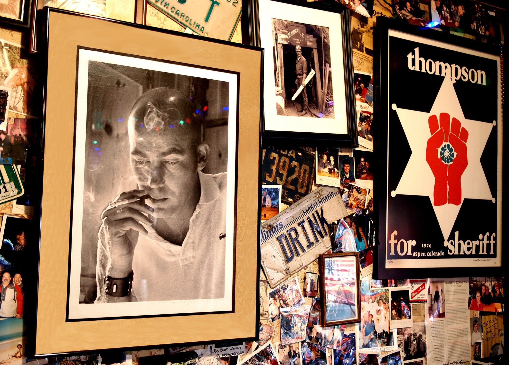 Wall of woody creek tavern where hunter s thompson used to hang wall of woody creek tavern where hunter s thompson used to hang out near his home north of aspen the portrait is by the photographer who did the cover for madrichimfo Images