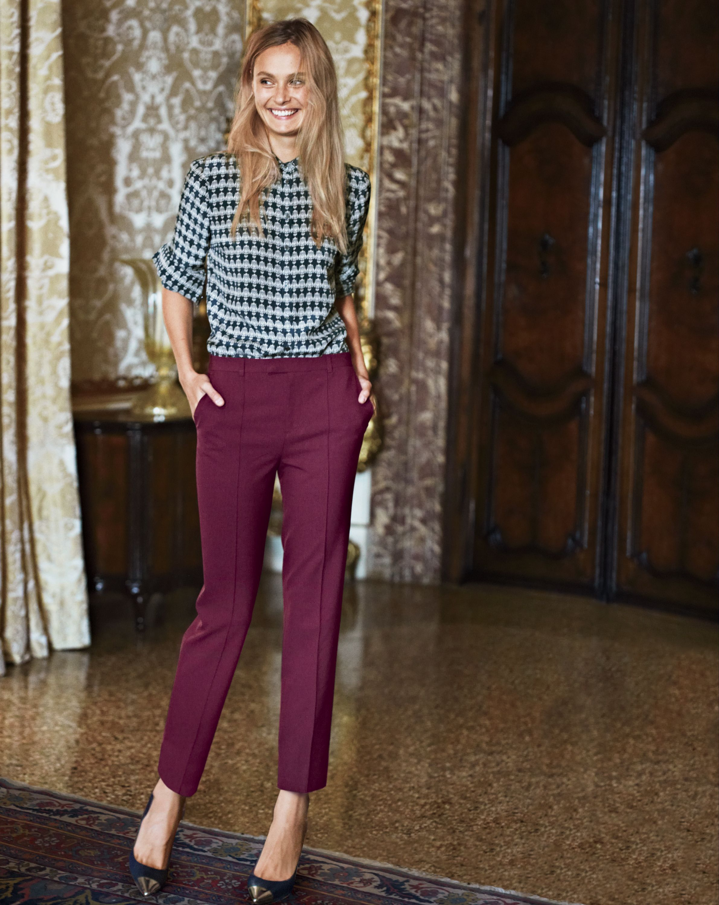 815f22e8 Two trends combined in one work outfit: burgundy & print #workwear  #officefashion J.Crew Silk boy blouse in owl print.