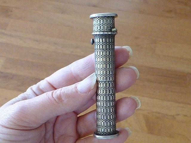 Antique CC Tower of Pisa Silver Wax HOLDER & Document Letter Stamp Seal Sealing