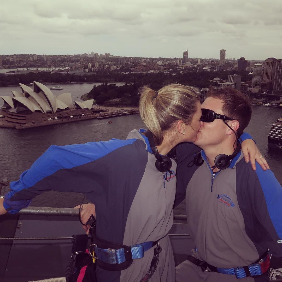 This time last week the fiancé conquered his fear of heights & climbed the #sydneyharbourbridge So in celebration I surprised/embarrassed him with a big kiss at the top  Cannot wait to marry this guy in just over 2 months x by ghg11 http://ift.tt/1NRMbNv