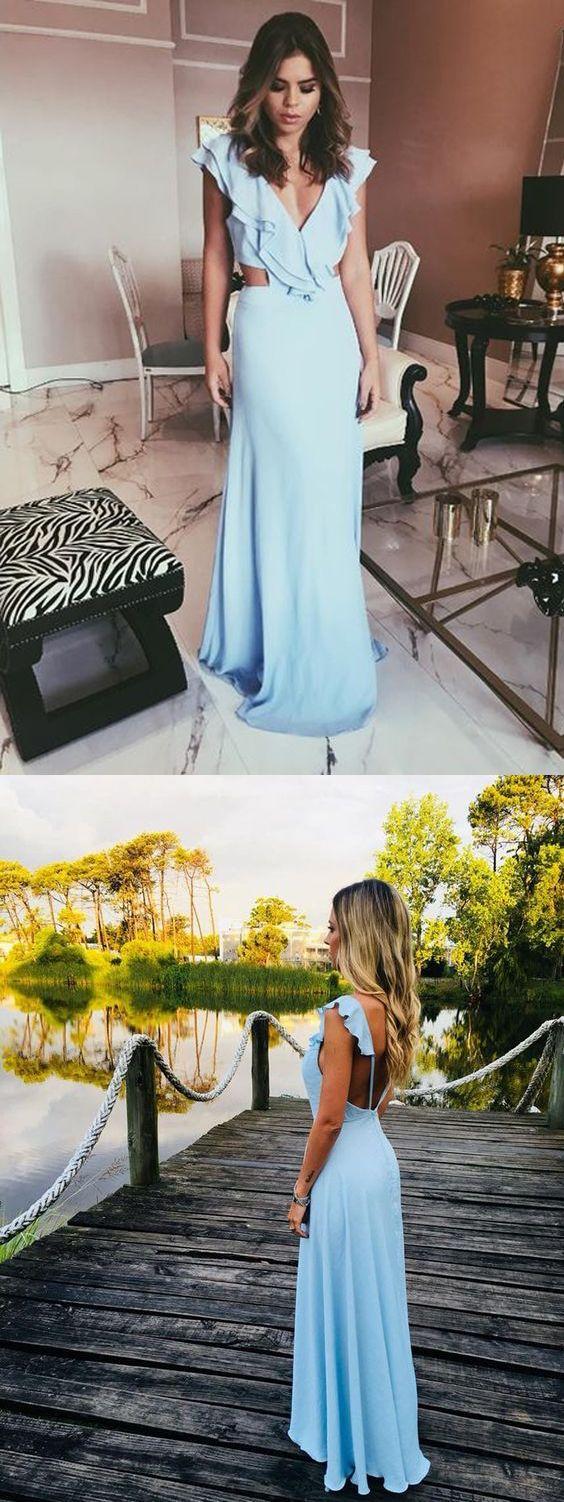 Charming sheath v neck backless ruffled light blue long prom dresses