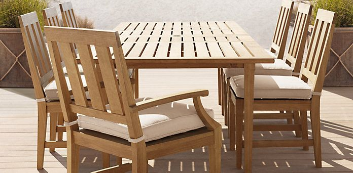Santa Monica Natural Teak Restoration Hardware Outdoor Furniture Sets Extension Dining Table Rectangular Dining Table