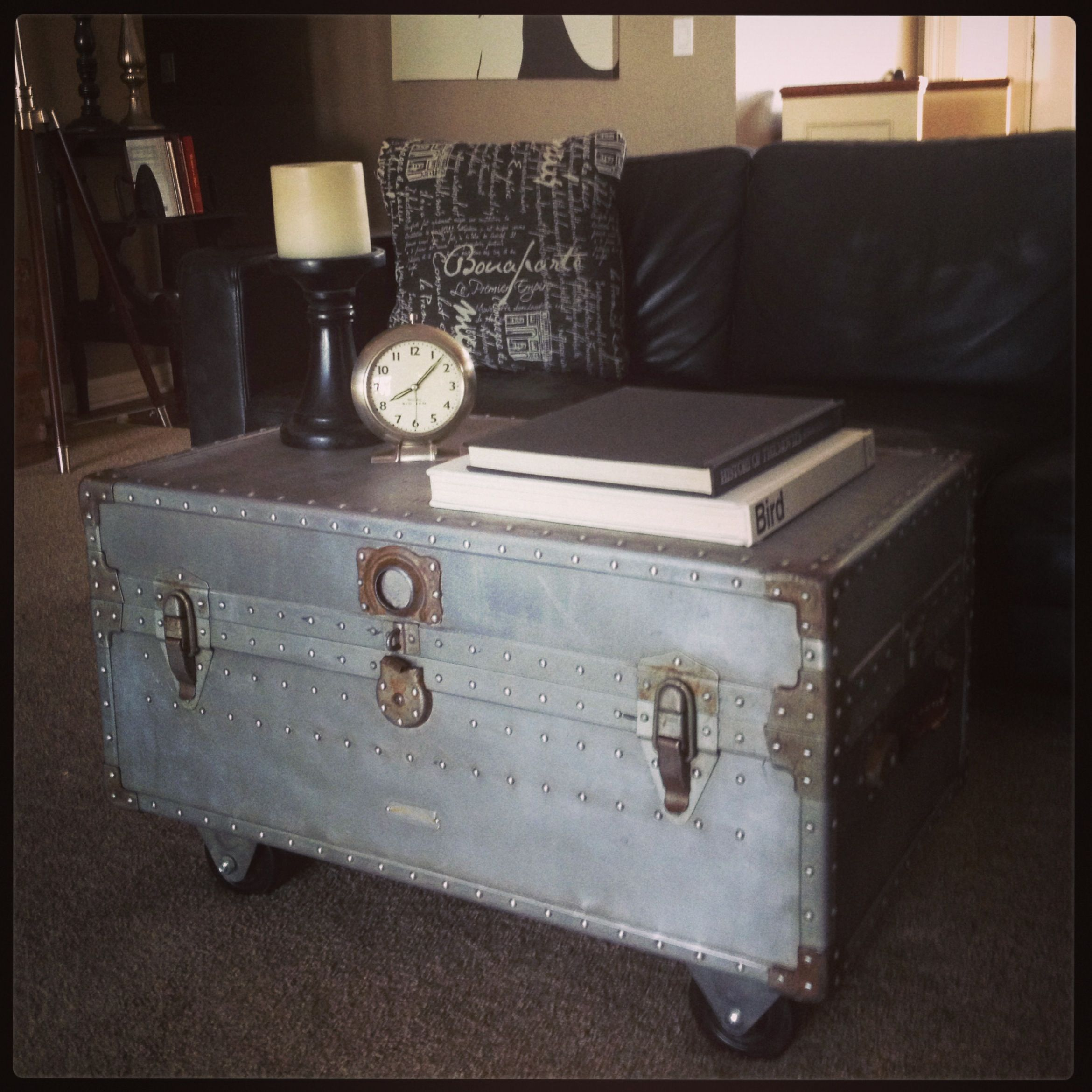 Just sanded down this old military trunk added castors and VOILA