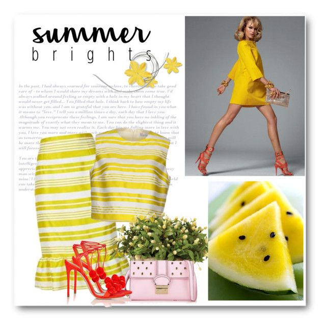 """""""Summer Brights"""" by bliznec ❤ liked on Polyvore featuring RED Valentino, OKA, Aquazzura, RedValentino, polyvorecontest and summerbrights"""