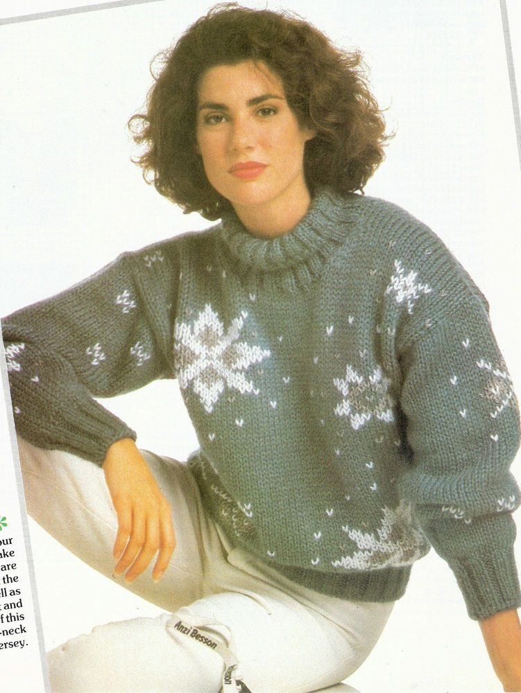 Ladies Snowflake Jumper Sweater Knitting Pattern Christmas Jumper