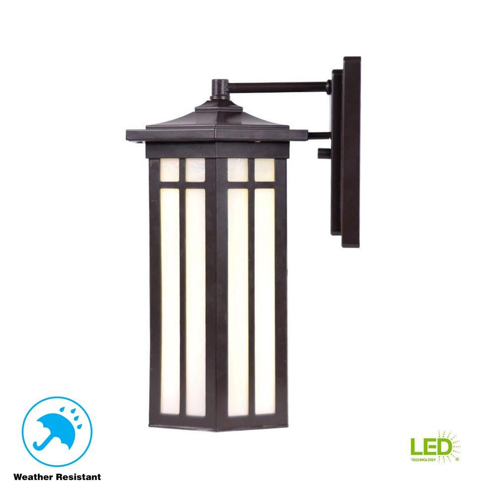 Home Decorators Collection Antique Bronze Outdoor Led Wall Lantern