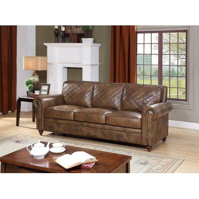 Darby Home Co Drexler Leather Sofa In 2020 Leather Sofa Darby Home Co