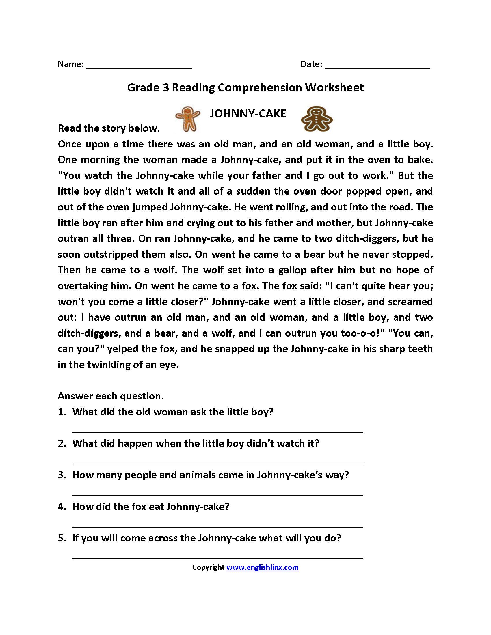 Johnny Cake Third Grade Reading Worksheets