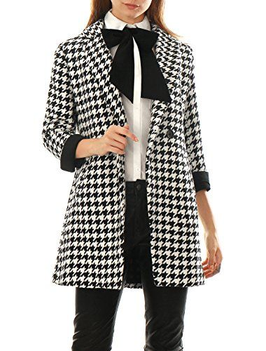 Allegra K Women Houndstooth Double Breasted Long Wool Blended Coat Black S >>> Find out more about the great product at the image link.