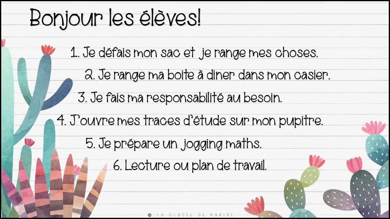 Idee Par Mariecole Robin Sur Rituels La Classe De Karine Routine Du Matin Projet De Classe