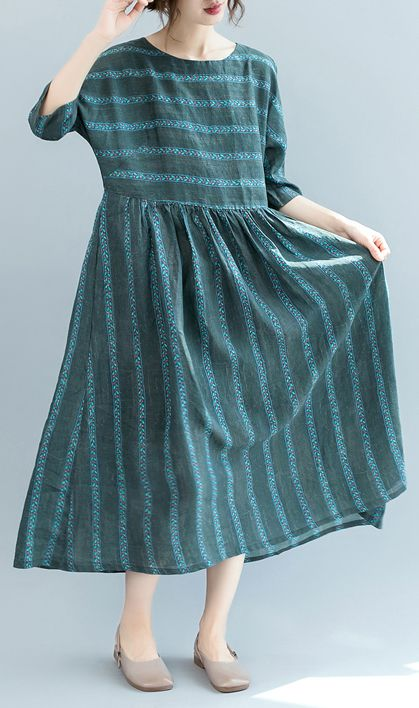 43dd802b28 fashion-dull-green-striped-natural-linen-dress-oversized-o-neck-baggy- dresses-linen-clothing-dress-boutique-short-sleeve-pockets-gown2