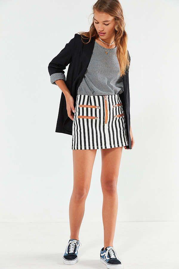 91cbfc50e2 Slide View: 6: BDG Striped Contrast Zipper Mini Skirt Urban Outfitters,  Contrast,