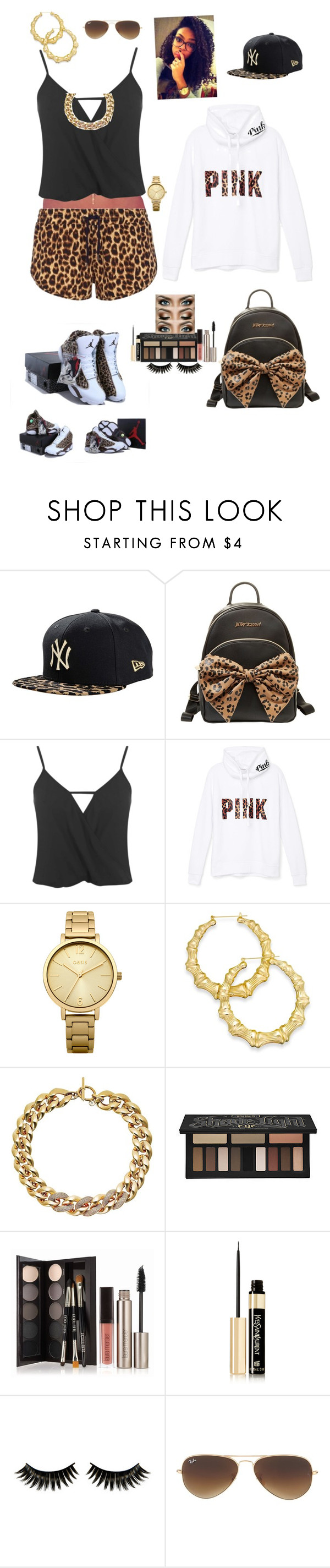 """Leopard girl #2"" by kenni8 ❤ liked on Polyvore featuring NIKE, New Era, Betsey Johnson, Miss Selfridge, Victoria's Secret PINK, Oasis, Thalia Sodi, Michael Kors, Kat Von D and Laura Mercier"