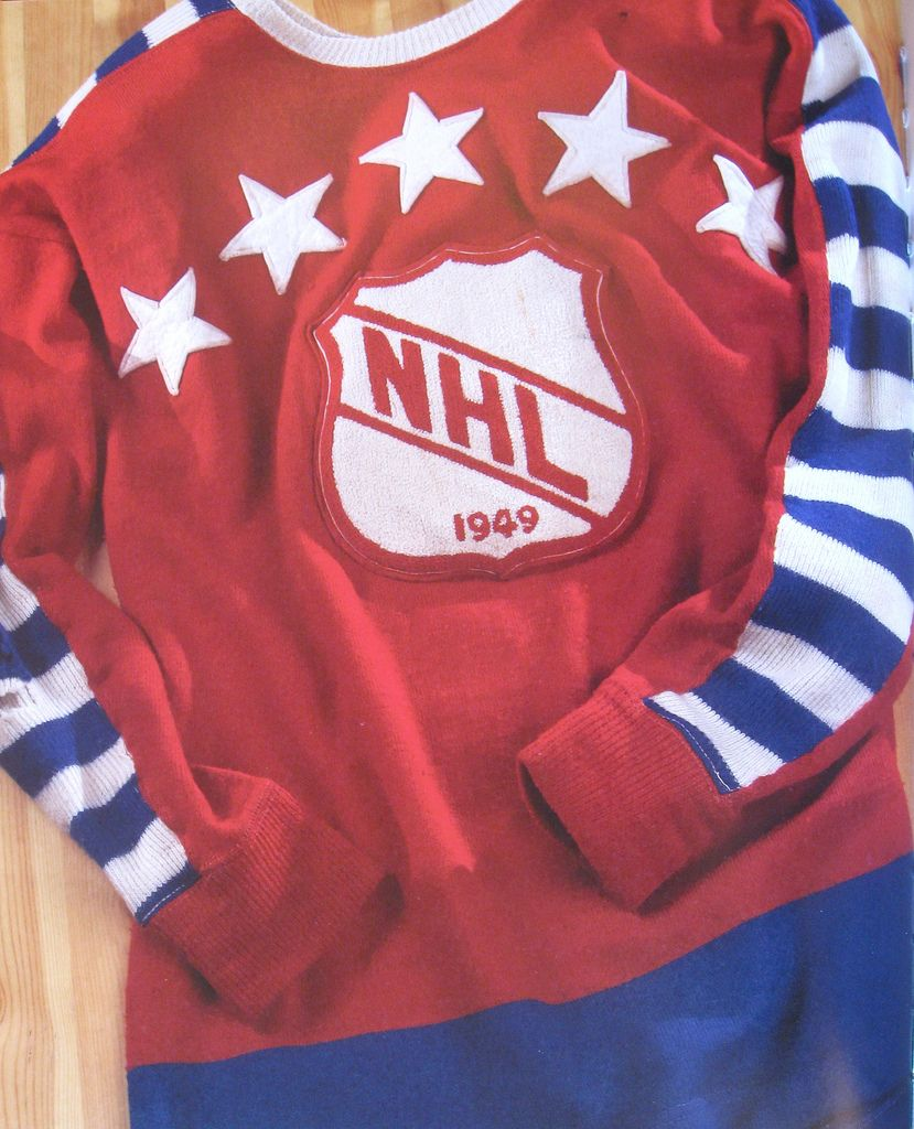 Vintage 1949 NHL All Star Game jersey with striped sleeves  f7b427d42