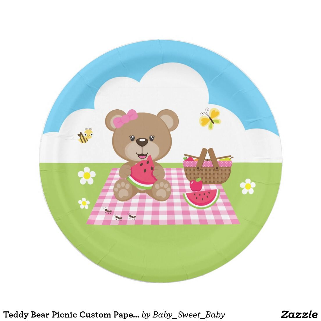 Teddy Bear Picnic Custom Paper Plates  sc 1 st  Pinterest & Teddy Bear Picnic Custom Paper Plates | CUSTOM PAPER PLATES ...