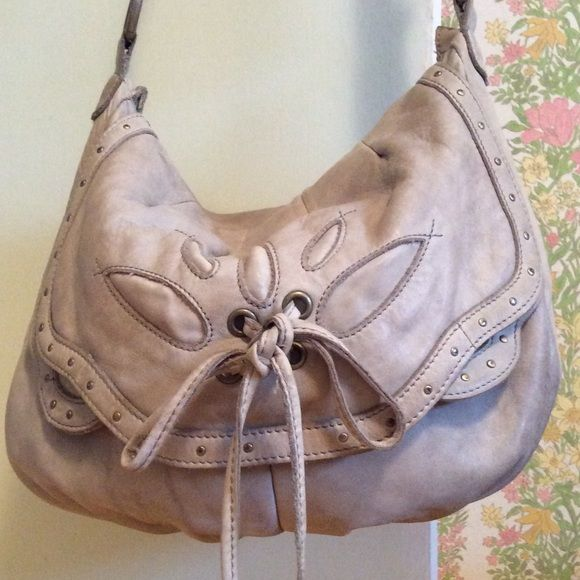 Anthropologie Lucky Penny Leather Bag Light Gray Metal Snap Closure 2 Front