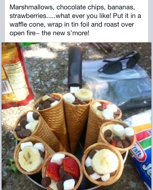 Waffle cone s'more: take a waffle cone, put your favorite ...