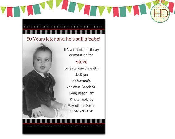 Photo birthday invitation 50th birthday party by hdinvitations free birthday party invitations for men fasync invitation samples stopboris Image collections