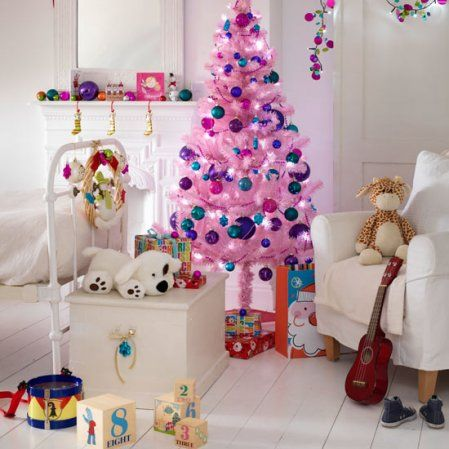 Pre-lit Christmas Tree for your kids' rooms.. I bought blue and ...