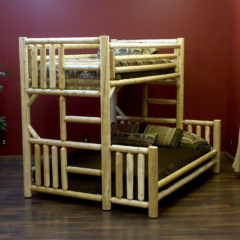 Lakeland Twin over Queen Rustic Log Bunk Bed Log bunk