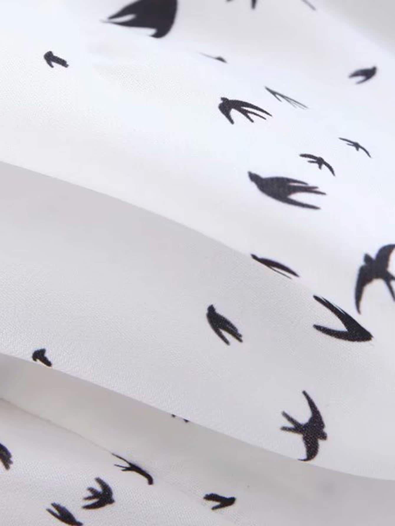 Ruffle Hem Bird Print Chiffon Shorts #chiffonshorts