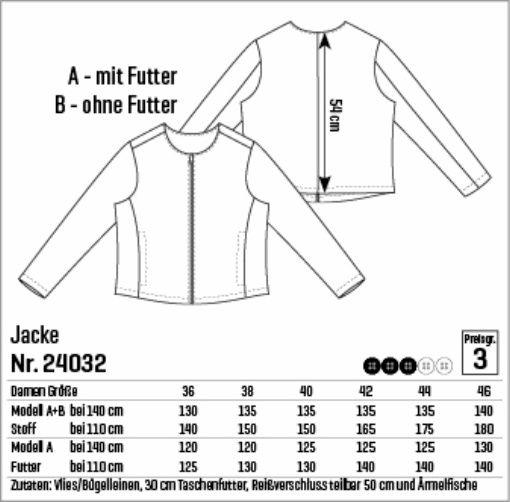 72602273 Jakke str. 36 - STOFF & STIL | Sy selv